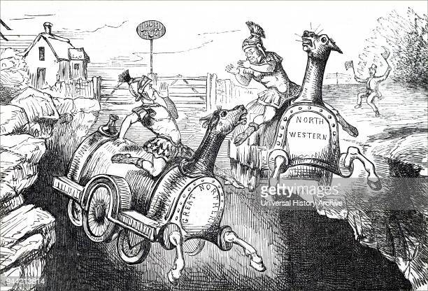 Cartoon titled 'The Rival Curtii' commenting on the new cutting in the heart of the countryside Two rival rail companies dressed as Roman gladiators...