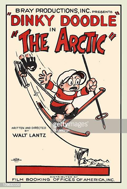 Cartoon with Skier with a cat pulled behind on a poster that advertises the Walter Lantz movie 'The Arctic,' 1926.