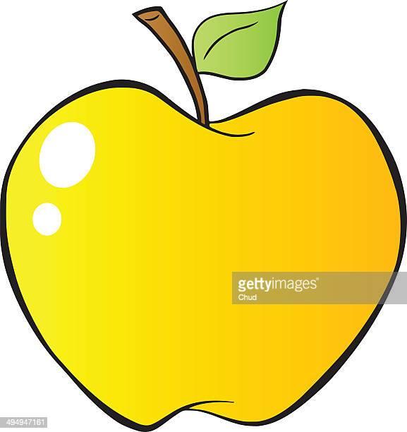 Cartoon yellow apple in gradient.