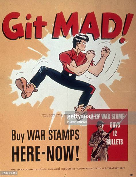 Cartoonist Al Capp's creation Li'l Abner puts up his fists under the headline 'Git Mad!' 1940s. Underneath the jumping character, the sign continues...