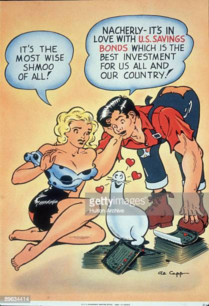 Cartoonist Al Capp's creations Daisy Mae and Li'l Abner admire a shmoo, in a advertisement for US Savings Bonds, 1949. Daisy Mae says 'It's the most...
