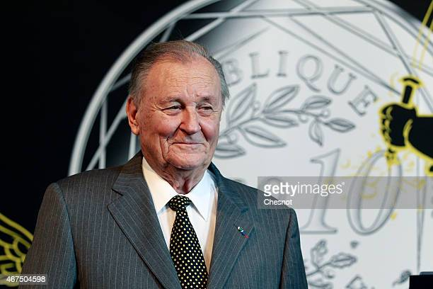 Cartoonist Albert Uderzo of France poses prior to a press conference at the Monnaie de Paris on March 25 in Paris France A new twelve piece coin...