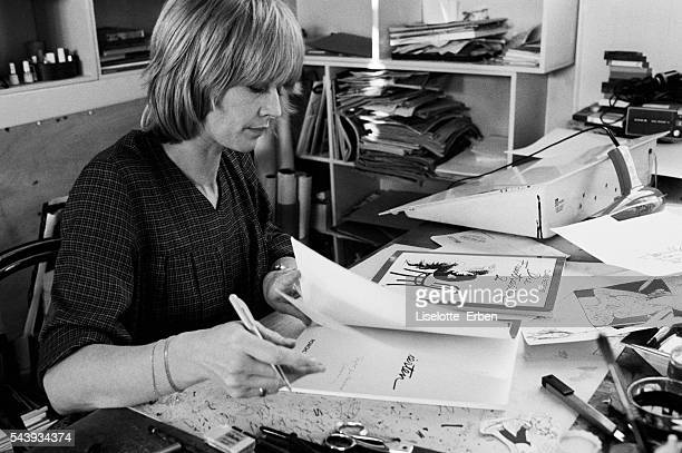 Cartoonist Claire Bretecher in her study at home