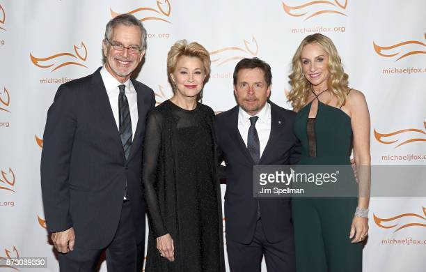 Cartoonist Garry Trudeau TV personality Jane Pauley actors Michael J Fox and Tracy Pollan attend the 2017 A Funny Thing Happened on the Way to Cure...