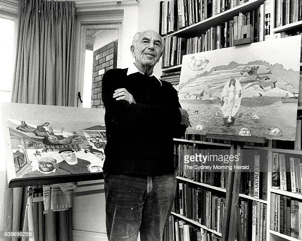 Cartoonist George Molnar at his home in Point Piper 11 June 1984 At right is Molnar's drawing called 'Unauthorised Birth of Venus at Nielson Park'...