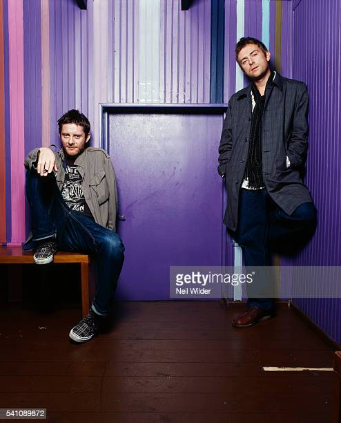 Cartoonist Jamie Hewlett and musician Damon Albarn of the virtual band Gorillaz