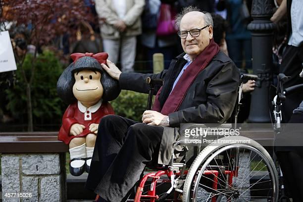 Cartoonist Joaquin Salvador Lavado, aka Quino, poses beside a sculpture of his creature Mafalda at the San Francisco park. Quino will be awarded the...