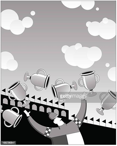 W cartoonstyle illustration of horse race jockey juggling silver cups