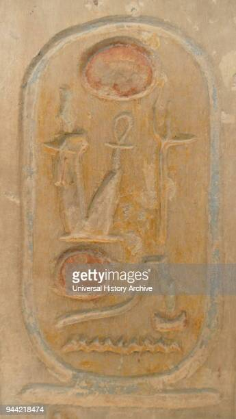 Cartouche from the limestone kinglist comprising 34 names 19th Dynasty 1250BC from the Temple of Ramses II at Abydos The Abydos King List also known...