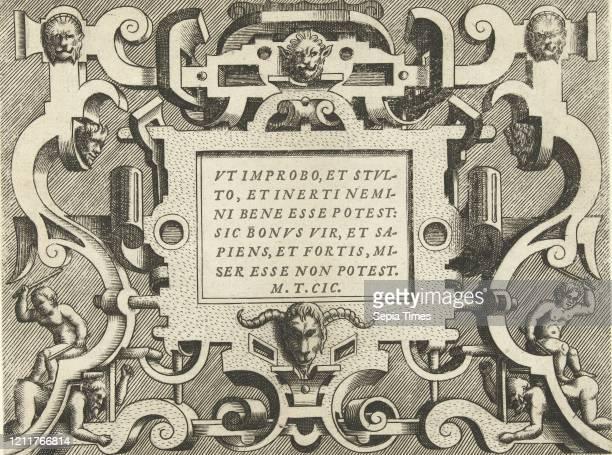 Cartouche with a quote from Cicero, Frans Huys, Hans Vredeman de Vries, Gerard de Jode, 1555.