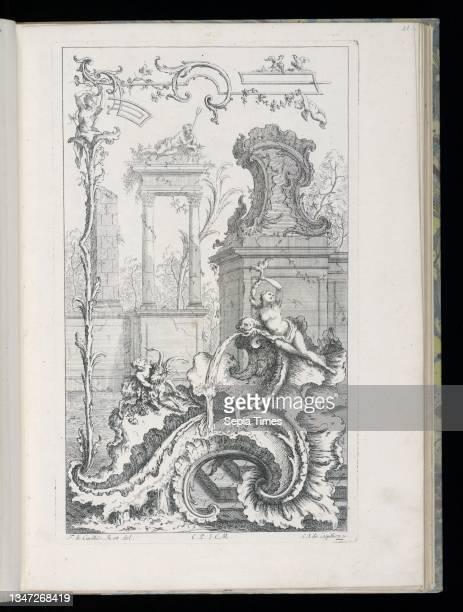 Cartouche with Ruins and Columns, Livre Nouveau de Morceaux de Fantaisie , François de Cuvilliés the Elder, Belgian, active Germany, 1695 - 1768,...