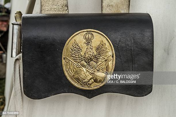 Cartridge box used by the Prussian army Battle of Waterloo 1815 Napoleonic Wars 19th century Historical reenactment