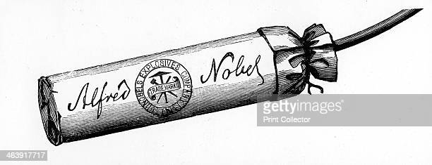 Cartridge from Nobel Explosives Company Limited Ardeer Ayrshire 1884 Cartridge packed with Dynamite made at the factory From The Illustrated London...