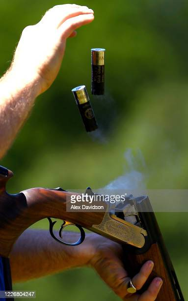 Cartridge is released from the gun of Team GB Olympic Trap Shooter Matt CowardHolley on May 24 2020 in Salisbury England