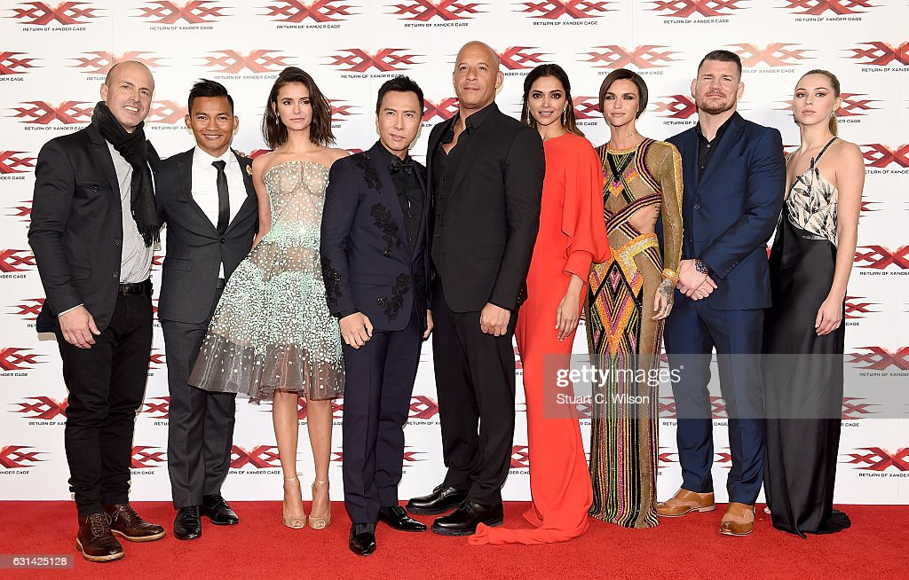 DJ Caruso, Tony Jaa, Nina Dobrev, Donnie Yen, Vin Diesel, Deepika Padukone, Ruby Rose, Michael Bisping and Hermione Corfield attend the European Premiere of Paramount Pictures' 'xXx: Return of Xander Cage' on January 10, 2017 in London, United Kingdom.