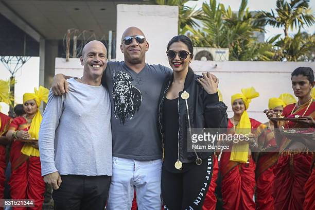 MUMBAI INDIA JANUARY 12 DJ Caruso Vin Diesel and Deepika Padukone arrive in Mumbai at Chhatrapati Shivaji Intl Airport for the Paramount Pictures...