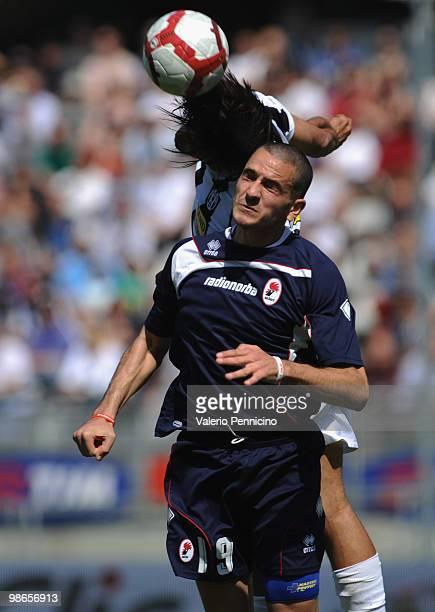 Carvalho De Oliveira Amauri of Juventus FC clashes with Leonardo Bonucci of AS Bari during the Serie A match between Juventus FC and AS Bari at...