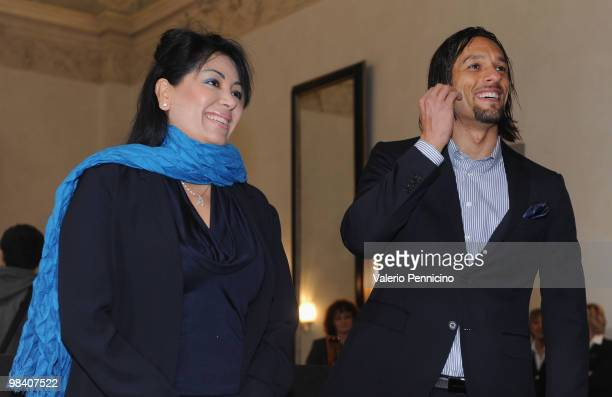 Carvalho De Oliveira Amauri the football player for Juventus and his wife Cynthia Amauri attend a ceremony where they received Italian citizenship at...