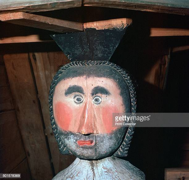 Carved and painted wooden figure from a wooden church in Keuruu, Finland, 18th century.