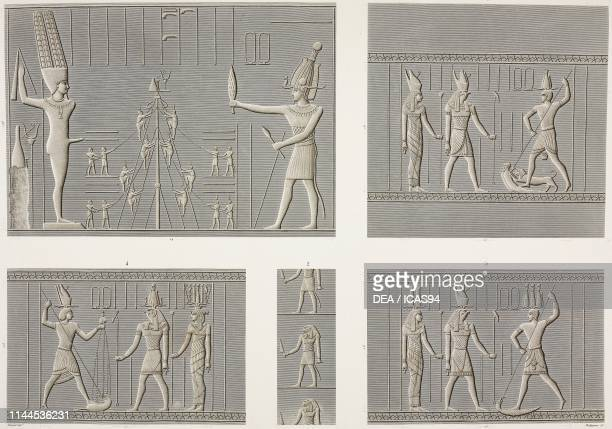 Carved bas-reliefs of the side walls, north entrance and east courtyard of Hathor Temple, Dendera Temple complex, Egypt, engravings by Phelippeaux...