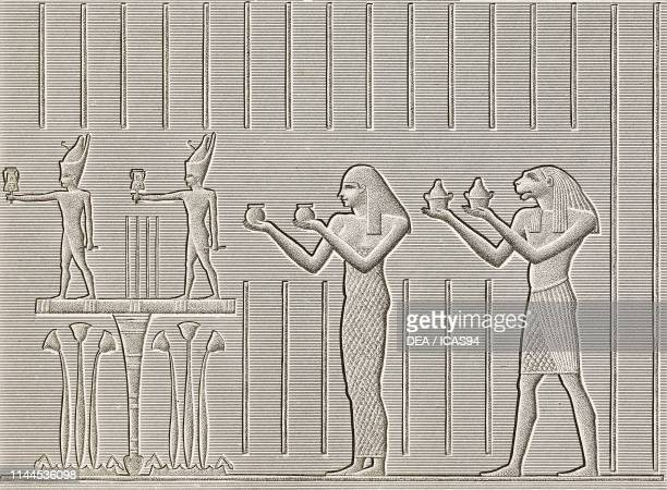 Carved bas-reliefs representing offering bearers, interior fo Hathor Temple, Dendera Temple complex, Egypt, engraving by Pomel after a drawing by...