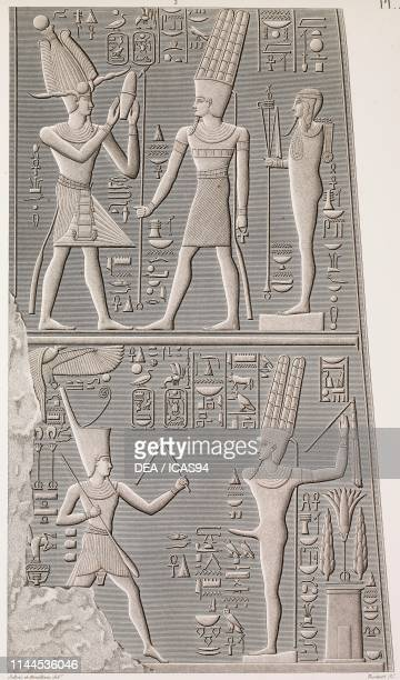 Carved bas-reliefs with Amon, internal decoration of Fourth Pylon, Karnak Temple complex, Thebes, Luxor, Egypt, engraving by Tassaret after a drawing...