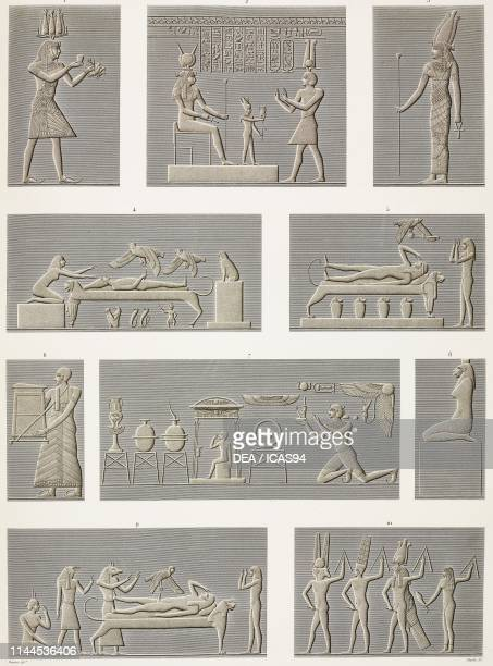 Carved bas-reliefs, Zodiac Hall and walls of Hathor Temple, Dendera Temple complex, Egypt, engravings after drawings by Dutertre, from Description de...