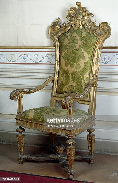 Carved chair with upholstereed seat and back 17th century Mantua Museo Di Palazzo D'Arco