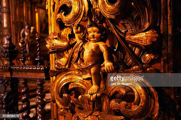 carved cherub at sao bento monastery - faith rogers stock pictures, royalty-free photos & images