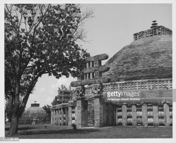 Carved decoration of the Northern gateway to the Great Stupa of Sanchi a site of Buddhist pilgrimage India circa 19201960