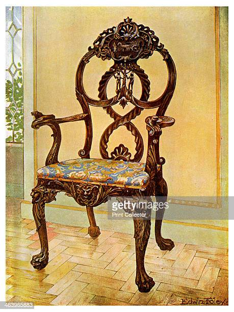 Carved early Chippendale chairman's chair, 1911-1912. A print from The Book of Decorative Furniture its Form, Colour and History, Volume II by Edwin...