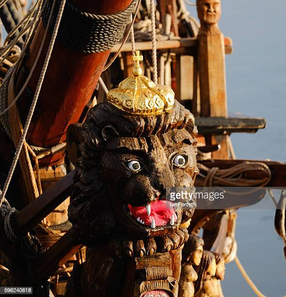 A carved figurehead can be seen on the bow of a ship during the North Sea Tall Ships Regatta on August 27 2016 in Blyth England The bustling port...