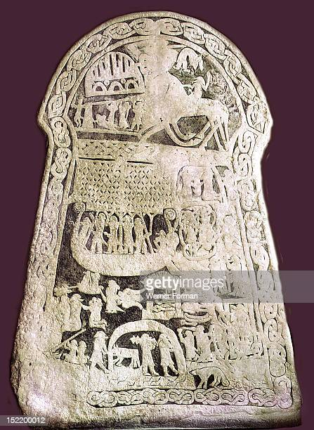 Odin mounted on Sleipnir On the left is Valholl Middle panel Viking ship Bottom panel Loki his wife Sigyn episodes from the tale of Wayland the Smith...