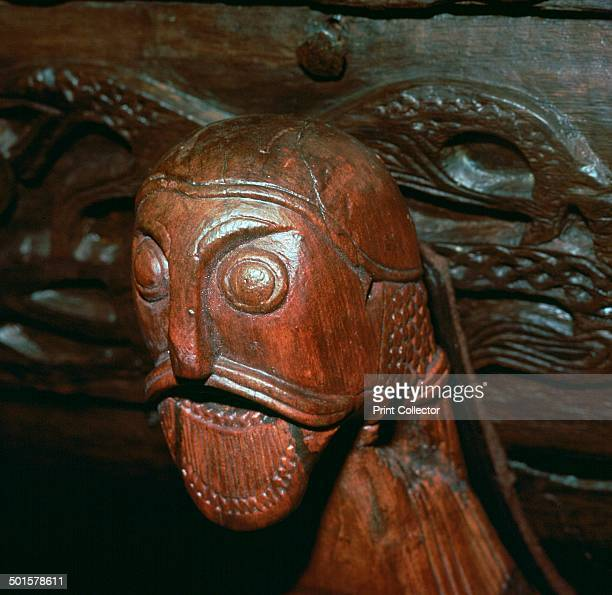 Carved head detail from a cart in the Oseburg Viking ship burial from the Viking Ships Museum's collection in Oslo 9th century