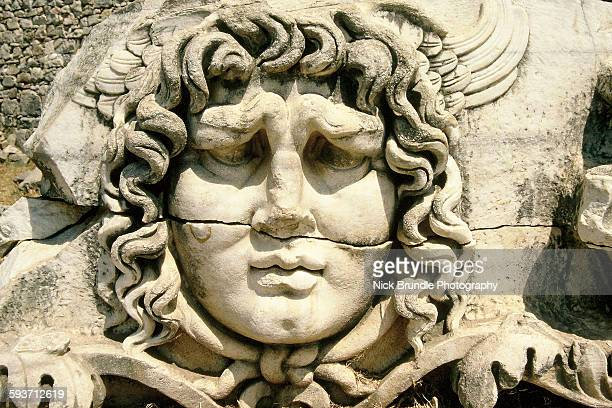 Carved head of Medusa, Didyma, Turkey.