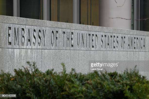 Carved letters in a wall are seen outside the new US embassy on January 12 2018 in London England President Trump has tweeted that he will not go...