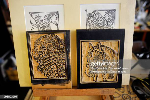 Carved linoleum blocks made for printing Chinese New Year cards are seen in the studio and office space of David Lance Goines in Berkeley, CA...