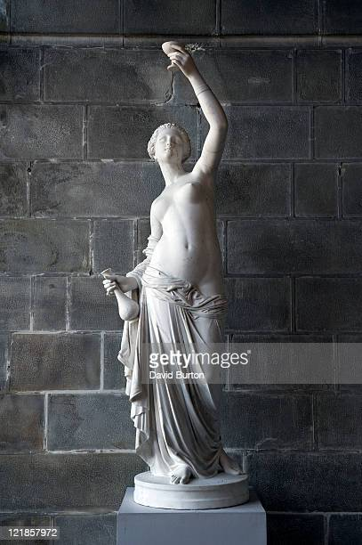 carved marble statue in garden conservatory, france - statue stock pictures, royalty-free photos & images