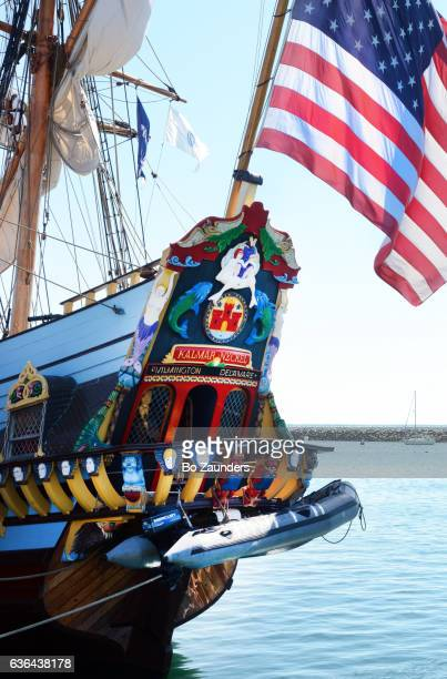 carved, painted stern of kalmar nyckel, provincetown, ma - wilmington delaware stock pictures, royalty-free photos & images