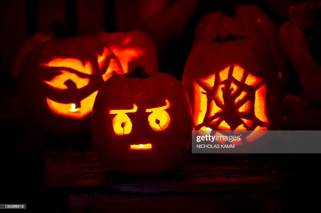 Carved pumpkins are seen at the 7th annu : News Photo