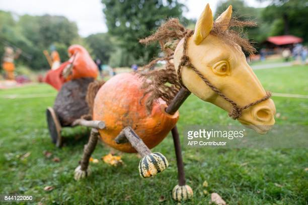 Carved pumpkins featuring a horse carriage and designed by US pumpkin artist Ray Villafane are pictured during a pumpkin exhibition in Ludwigsburg...
