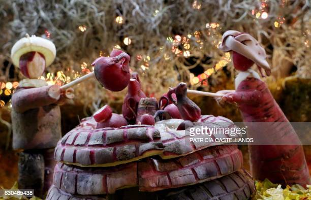 Carved radishes are displayed during the celebration of the 'Night of the Radishes' in Oaxaca Mexico on December 23 2016 The Night of the Radishes is...