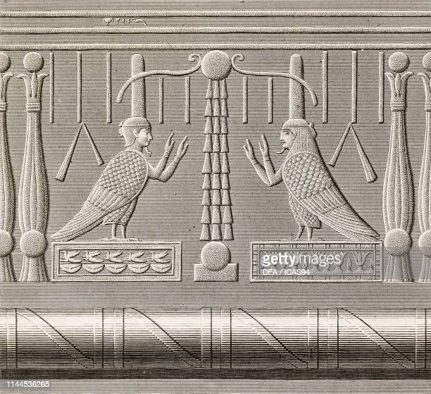 Carved relief of the cornice, detail, Hathor Temple, Dendera Temple complex, Egypt, engraving by Pomel after a drawing by Chabrol, from Description...