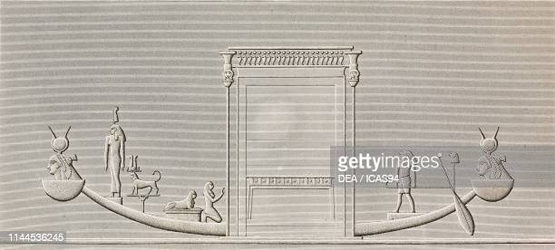 Carved relief, shrine of Hathor Temple, Dendera Temple complex, Egypt, engraving by Phelippeaux after a drawing by Jollois and Revilliers, from...