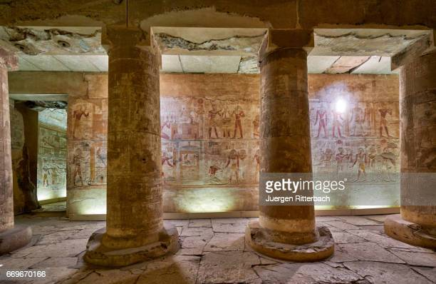 carved reliefs in temple of Seti I, Abydos