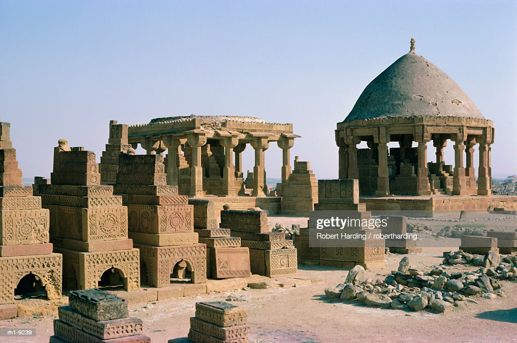 Carved sandstone, Chaukundi tombs, 15th-18th centuries, Sind (Sindh), Pakistan, Asia : Foto de stock