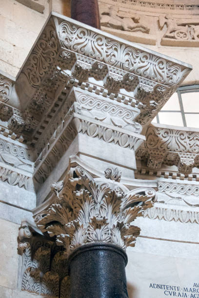 Carved stone capital in the Cathedral of St Dominus
