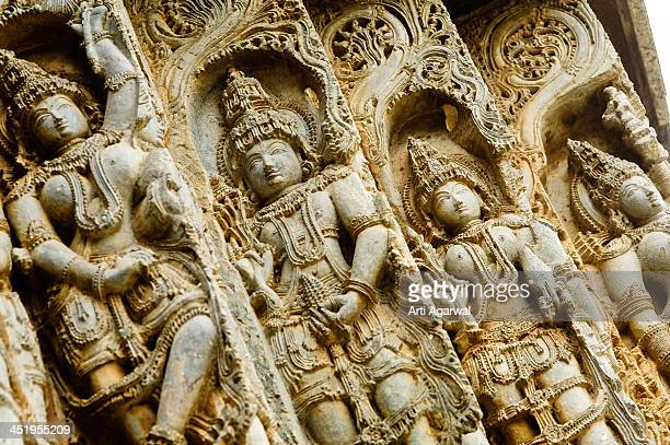Carved stone deities in Hoysaleshwar Temple