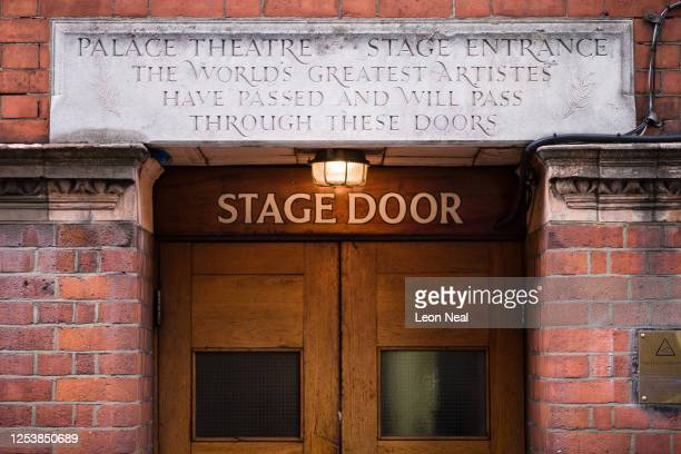 Carved stone is seen above the stage door of the Palace Theatre on July 02, 2020 in London, United Kingdom. The British government have announced...