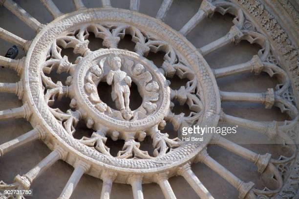 Carved stone rose window on the Ostuni Cathedral